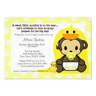 猿のベビーのDuckieのBathのシャワーの招待状 カード