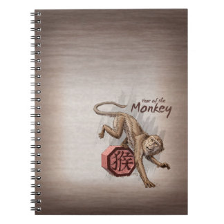 猿の中国のな(占星術の)十二宮図の芸術の年 ノートブック