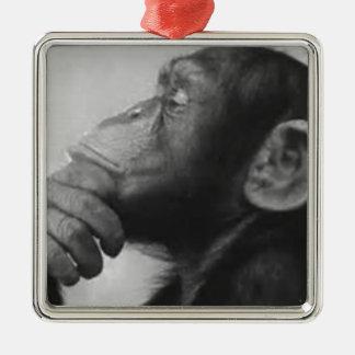 猿の大学 シルバーカラー正方形オーナメント