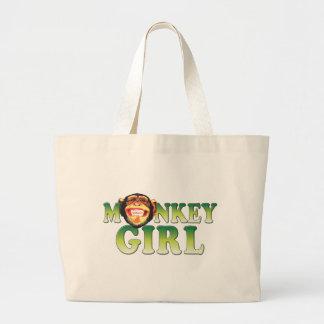 猿の女の子 ラージトートバッグ