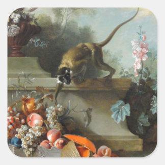 猿の年のロココ様式の絵画 スクエアシール