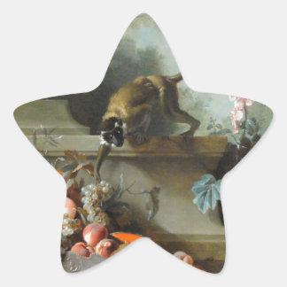 猿の年のロココ様式の絵画 星シール