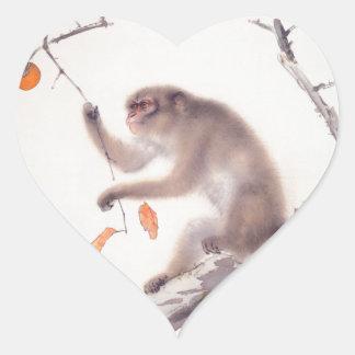 猿の日本のな絵画猿年のハートのステッカー ハートシール