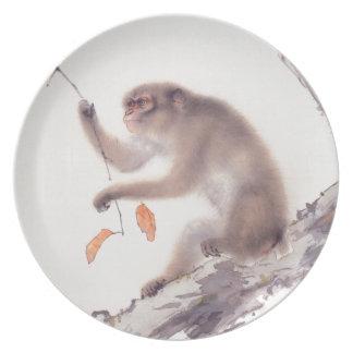 猿の日本のな絵画-猿の年 プレート