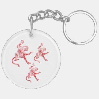 猿の曼荼羅の円(両面の) Keychain キーホルダー