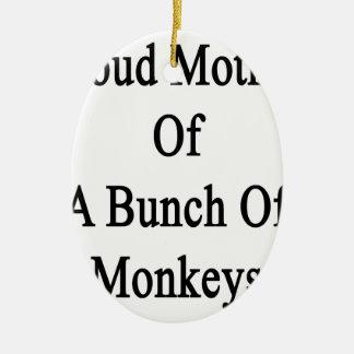 猿の束の誇り高い母 セラミックオーナメント