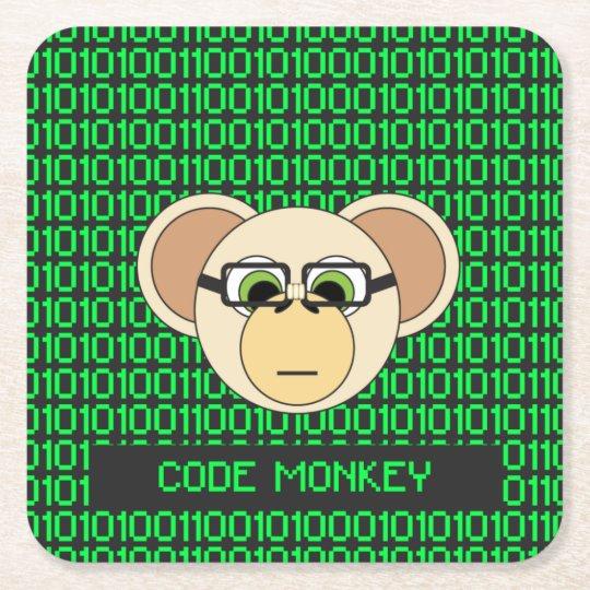猿の漫画動物プログラマーコーダーのジャングルをコードして下さい スクエアペーパーコースター