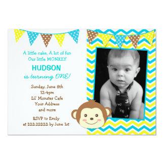 猿の男の子の写真の誕生日の招待状 カード
