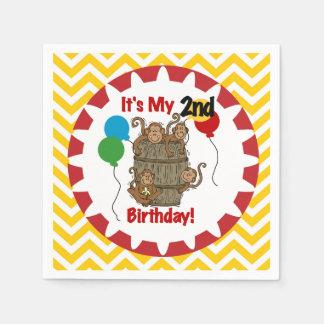 猿の第2誕生日の紙ナプキンのバレル スタンダードカクテルナプキン
