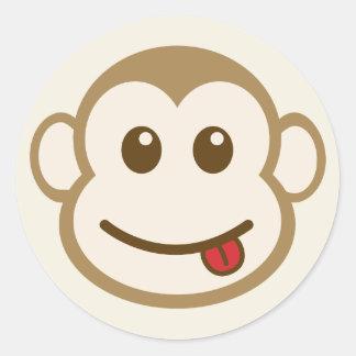 猿の顔のベクトル芸術 ラウンドシール
