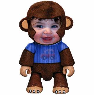 猿の顔-男の子 写真彫刻(台付き)