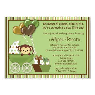 猿キャリッジv1緑のベビーシャワー招待状 カード