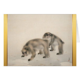 猿年の2016年の挨拶のための日本のな絵画 カード