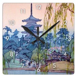 猿澤池、Sarusawaの池、ひろし吉田の木版画 壁時計