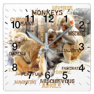 猿 スクエア壁時計