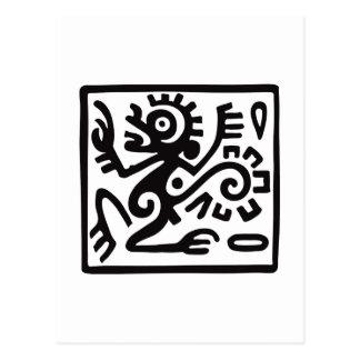 猿、メキシコヒエログリフ(マヤ) ポストカード
