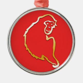 猿(中国のな(占星術の)十二宮図)の年 シルバーカラー丸型オーナメント