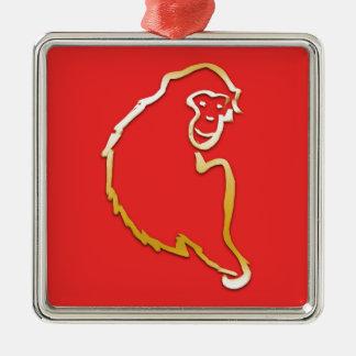 猿(中国のな(占星術の)十二宮図)の年 シルバーカラー正方形オーナメント