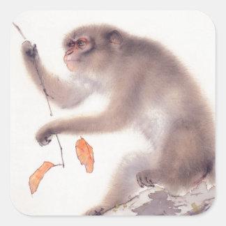 猿Sticの猿の日本のな絵を描く年 スクエアシール