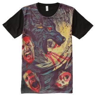 獣の暗い恐怖芸術の気色悪い狼人間の自然 オールオーバープリントT シャツ