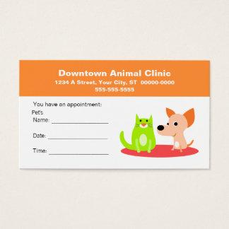 獣医のアポイントメントカード 名刺