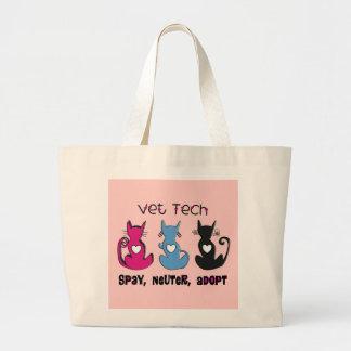 獣医の技術は中性を採用します黒猫のデザインを卵巣摘出します ラージトートバッグ