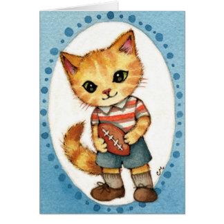 獣-かわいい50年代のレトロのフットボール猫の芸術 カード