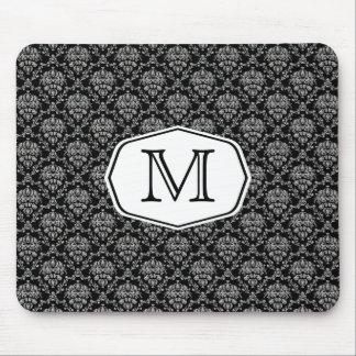 玄関ひさしのモノグラムのダマスク織 マウスパッド