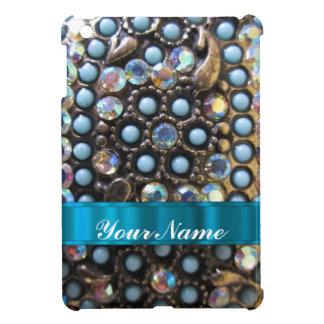 玉が付く青いターコイズ iPad MINI カバー