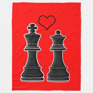 王および女王とのチェス愛 フリースブランケット