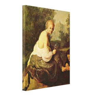王によってデイヴィッド見られるレンブラント- Bathsheba キャンバスプリント