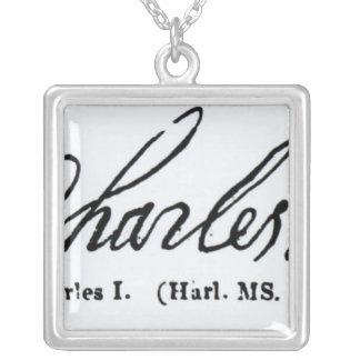 王のチャールズ署名I シルバープレートネックレス