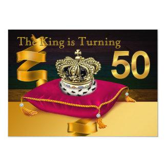 王の第50誕生会に人を配置しますTheme 12.7 X 17.8 インビテーションカード