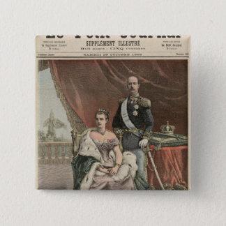 王の銀製の結婚記念日 5.1CM 正方形バッジ