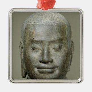 王のJayavarman頭部VII メタルオーナメント
