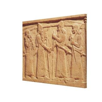 王を描写するShalmaneserレリーフ、浮き彫りIII キャンバスプリント