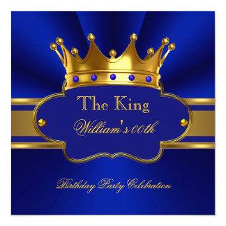 王ロイヤルブルーの金ゴールドの誕生会メンズは人を配置します 13.3 スクエアインビテーションカード