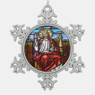 王位のイエス・キリスト主 スノーフレークピューターオーナメント