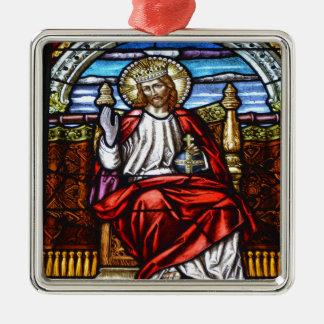 王位のステンドグラスのイエス・キリスト主 メタルオーナメント