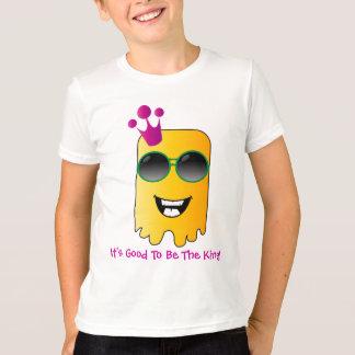 王冠およびサングラスを持つ黄色い外国モンスター Tシャツ