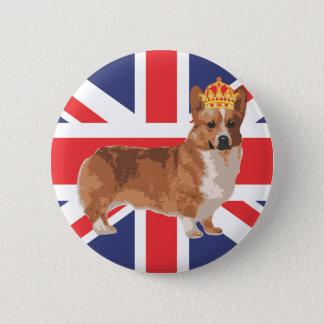 王冠および英国国旗を持つ女王のコーギー 缶バッジ