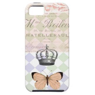 王冠および蝶ヴィンテージの電話箱 iPhone SE/5/5s ケース