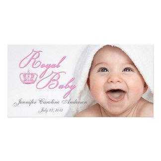 王冠との王室のな明るいピンク カスタムフォトカード