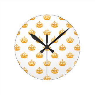 王冠のオレンジ ラウンド壁時計