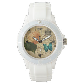 王冠のフランスのな植物の芸術の蝶アジサイ 腕時計