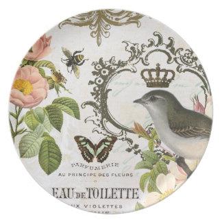 王冠のプレートを持つヴィンテージのフランスのな鳥 プレート