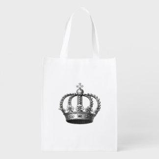 王冠のヴィンテージの芸術の再使用可能な買い物袋 買い物袋