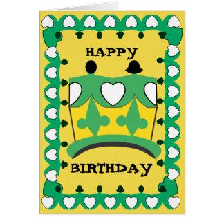 王冠の子供の緑の漫画のメッセージカード カード