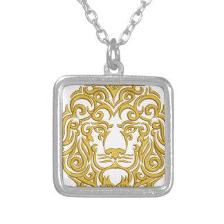 王冠の金ライオン-刺繍の模造 シルバープレートネックレス
