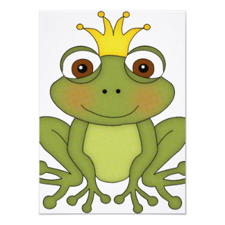 王冠を持つおとぎ話のカエルの王子 カード